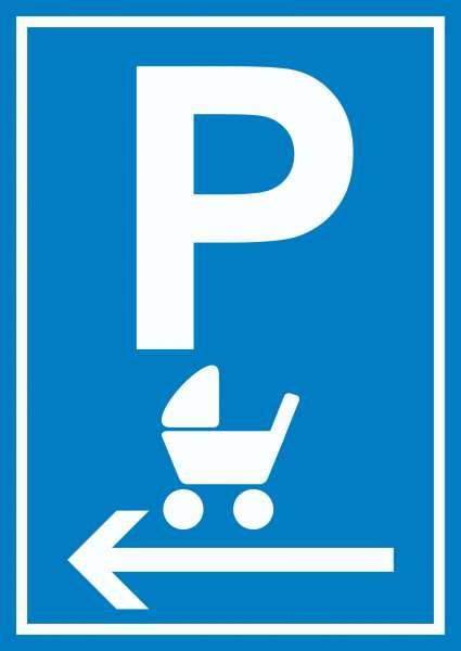 Kinderwagen Parkplatz links Schild