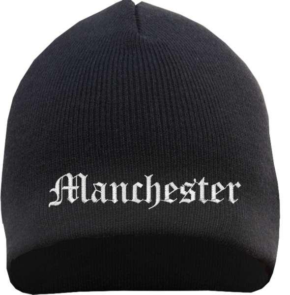 Manchester Beanie Mütze - Altdeutsch - Bestickt - Strickmütze Wintermütze