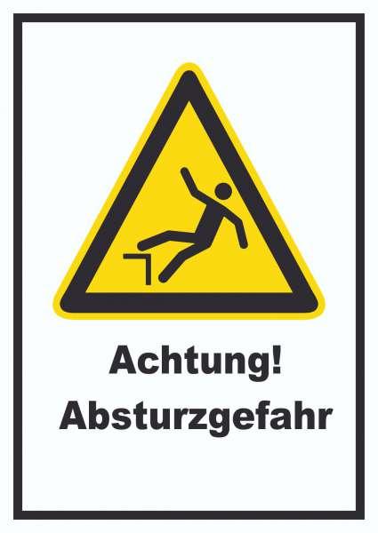 Achtung Absturzgefahr Schild