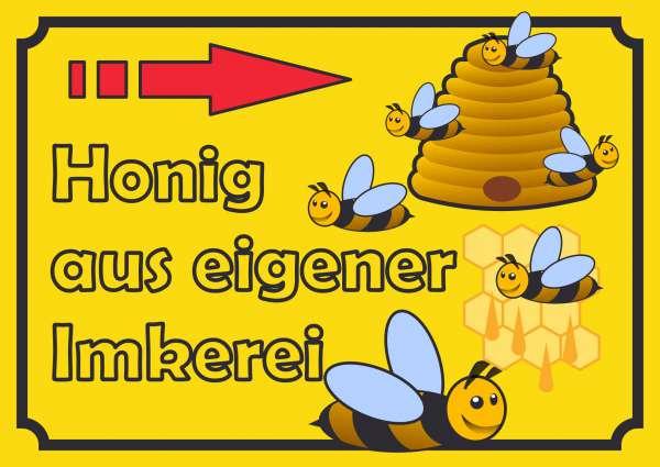 Verkaufsschild Schild Honig rechts