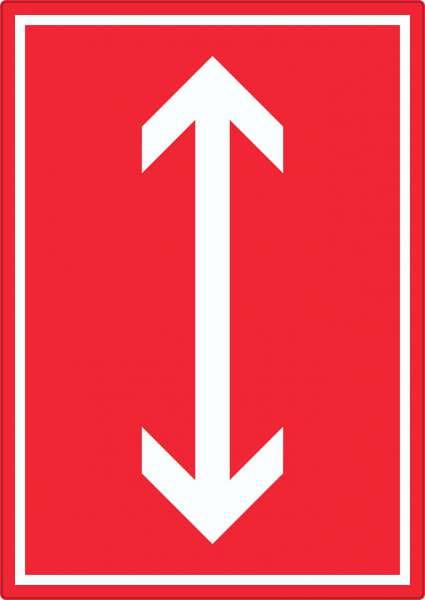 Richtungspfeil hoch runter Aufkleber hochkant weiss rot Pfeil