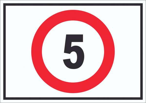 Tempo 5 km/h Geschwindigkeitsbegrenzung Aufkleber Symbol